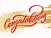 Congratulations Card. Hand Lettering. Vector Hand Drawn Illustration. poster