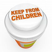 A child-proof medicine bottle top with the words Keep From Children representing the danger of poiso