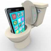 A smart phone with apps being flushed down a toilet symbolizing frustration with poor service, outdated and obsolete old model, in anticipation of replacement with new model cellphone