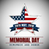 Memorial Day With Star In National Flag Colors. poster