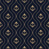 Floral Pattern. Vintage Wallpaper In The Baroque Style. Seamless Vector Background. Dark Blue And Go poster