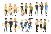 Colorful Illustration With Cheerful Students And Business People. Cartoon Characters Of Young Girls  poster