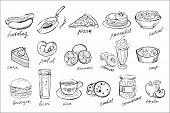Collection Of Food And Drinks Icons In Sketch Style. Sweet Desserts, Fastfood, Fresh Fruits, Beverag poster
