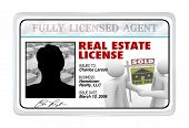A laminated identification I.D. card or for a real estate license that a buying or selling professio