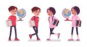 School Boy, Girl With A Globe And Books For Education. Cute Small Children, Active Young Friend Kids poster