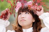 picture of lolita  - japanese lolita portrait in fall season - JPG