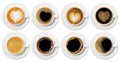 Coffee Cup Assortment Top View Collection, Coffee Cup Assortment With Heart Sign Top View Collection poster