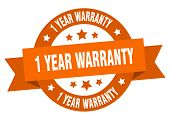 1 Year Warranty Ribbon. 1 Year Warranty Round Orange Sign. 1 Year Warranty poster