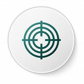 Green Target Sport For Shooting Competition Icon Isolated On White Background. Clean Target With Num poster