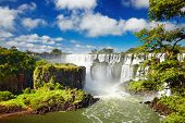 Iguassu Falls, the largest series of waterfalls of the world, located at the Brazilian and Argentinian border, View from Argentinian side