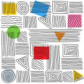 Minimal Abstract Print Of Different Curved Geometric Shapes. Collection Triangles, Squares, Circles  poster