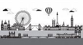 Vector Illustration Of Main Landmarks Of London. City Skyline Vector Illustration Isolated On White  poster