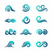 Stylized Wave Logo. Ocean And Sea Water Graphics Flowing Wave Swimming Vector Symbols Collection. Oc poster