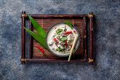 Thai Chicken Mushroom Coconut Milk Soup Tom Kha Gai In Bowl With Thai Spices. poster