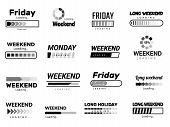 Loading Week Bar. Business Ui Interface Web Template Quote Pictures Lazy Week Days Vector Funny Pict poster