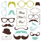 Happy Father's day background, spectacles and mustaches, retro style