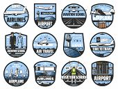 Aviation Icons, Pilot School And Flight Attendant Service. Vector International Flights Travel, Airp poster