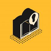 Isometric Interesting Facts Icon Isolated On Yellow Background. Book Or Article And Light Bulb. Vect poster