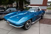 JACKSONVILLE, FLORIDA - FEBRUARY 18: A 1966 Blue Chevy Corvette 427 Turbo-Jet on display at the Jack