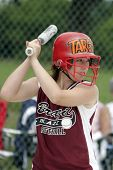 Girl Playing Softball