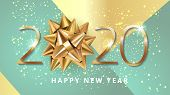 Happy New 2020 Year. Greeting Card Web Banner Or Poster With Happy New Year 2020 With Christmas Bow  poster
