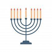 Menorah Icon Happy Hanukkah Judaism Religious Holidays Hebrew Celebration Concept Candelabrum With C poster