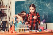School Chemistry Laboratory. Back To School. Educational Concept. Pupils In The Chemistry Class. Hap poster
