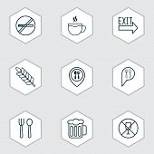 Restaurant Icons Set With Plant, Booking, Restaurant Location And Other Check In Elements. Isolated  poster