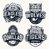 Sport Teams Vintage Emblems With Angry Eagle Wolf Tiger Gorilla Mascots And Inscriptions In Monochro poster