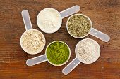 five plastic measuring cups of different superfood supplement powders (form bottom clockwise: wheatgrass, maca root, whey protein, hemp seed protein, psyllium husk) on grunge wood background