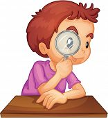 Illustration of a boy using a magnifying glass - EPS VECTOR format also available in my portfolio.