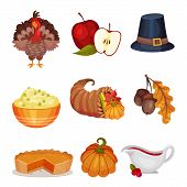 Thanksgiving Symbols Vector Set. Festive Traditional Volume Items Collection poster