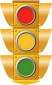 image of traffic signal  - A vector illustration of a traffic signal with all three lights showing - JPG