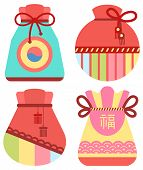 Traditional Chinese Fortune Bag Vector, Isolated Fabric Cloth With Thread Stuffed With Symbols Of Pr poster