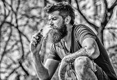 Bearded Man Smoking Vape. Smoking Electronic Cigarette. Smoking Device. Man Long Beard Relaxed With  poster
