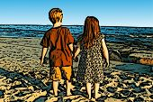 Siblings on Beach Illustration
