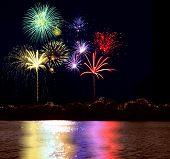 Firework And Lake
