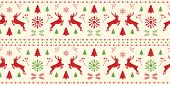Christmas Scandinavian White, Red And Green Seamless Pattern With Gorgeous Deer And Snowflake. Winte poster