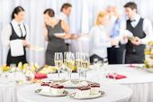 image of buffet lunch  - Desserts and Champagne for business meeting conference participants - JPG