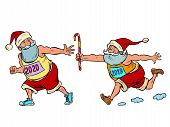 Sports Relay. Santa Claus Old 2019 And New 2020. Christmas And New Year. Comic Cartoon Pop Art Retro poster