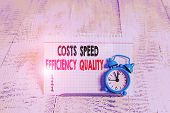 Conceptual Hand Writing Showing Costs Speed Efficiency Quality. Business Photo Text Efficient Operat poster