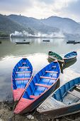 Wooden Boats On Pokhara Lake In Nepal