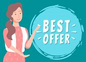 Best Offer At Shop Vector, Isolated Character With Circle And Inscription. Promotion Clearance, Pres poster