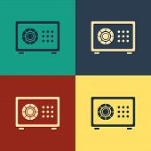 Color Safe Icon Isolated On Color Background. The Door Safe A Bank Vault With A Combination Lock. Re poster