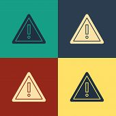 Color Exclamation Mark In Triangle Icon Isolated On Color Background. Hazard Warning Sign, Careful,  poster