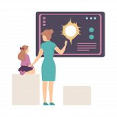 Young Woman Explaining Her Daughter Astronomical Facts And Notions In Planetarium Vector Illustratio poster
