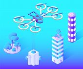 Drone With Propeller Vector, Flying Over City Constructions And Buildings. Modern Skyscrapers And To poster