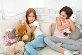 Little Girls Spend Time Together. Friendship Personal Relations. Toys Shop. Cute Soft Toys. Happy Ch poster