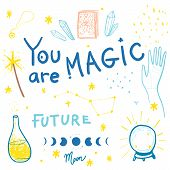 Set Of Magic Illustrations And Lettering Such Us Crystal, Paganism, Wizard, Palmistry, Magic Wand, S poster