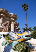 Dragon salamandra of gaudi mosaic in park guell of Barcelona